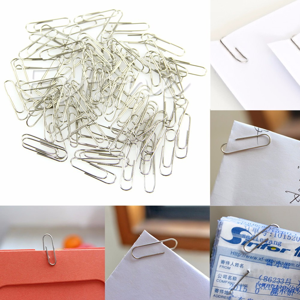 1 Set 100Pcs New Office Plain Steel Paper Clips 29mm Paperclips Metal Silver<br><br>Aliexpress