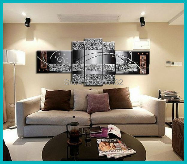 Framed 5 Panel Large Canvas Art Cheap Heavy Textured