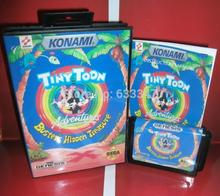 Sega 16 bit MD games card – Tiny Toon Adventures – Buster's Hidden Treasure with Box and Manual