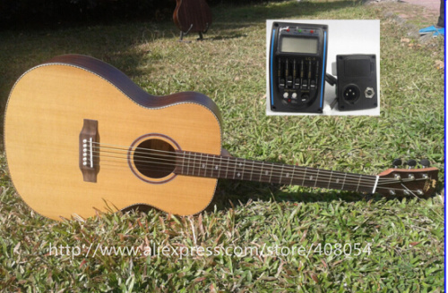 "Здесь можно купить  Free shipping 40 "" Folk OM Acoustic Electric Guitar   +  hard case,solid cedar/rosewood guitarra with LCD pickup Nature gloss  Спорт и развлечения"