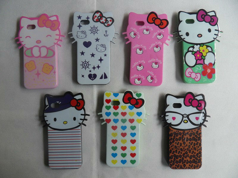 Cute 3D Lovely Hello Kitty Cat soft TPU back cover cases apple phone iphone 5 5s - H&H Online Store store