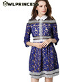 Owlprincess 2016 New Spring Women s Hollow Out Embroidery Half Sleeve Dress Turn Down Collar Party