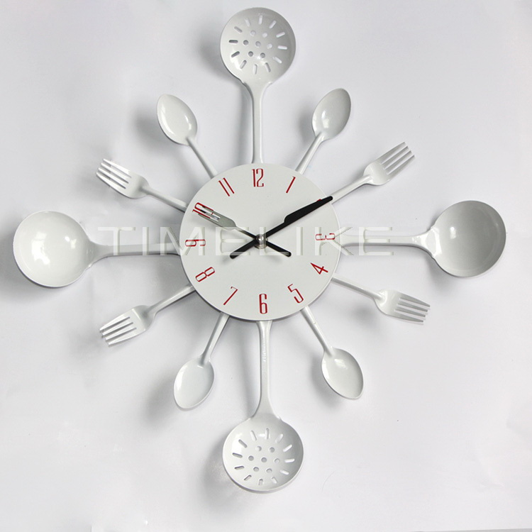 16 inch Large Size High Quality Metal Kitchen Wall Clock Fork Spoon Kitchen Wall Clock Special Gift(China (Mainland))