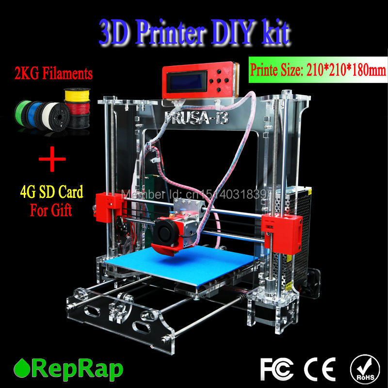 2015 New Upgraded Quality High Precision Reprap Prusa i3 DIY 3d Printer kit P802 with 2 Rolls Filament 8GB SD card(China (Mainland))