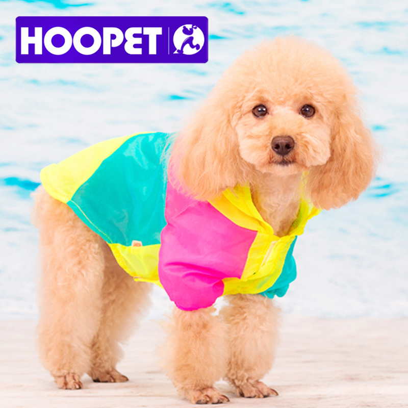 Cute !!! NEW Puppy Pet Small Dog summer Sweet Color stitching colorful Sunscreen Clothes air-condition apparel hoodied coat(China (Mainland))