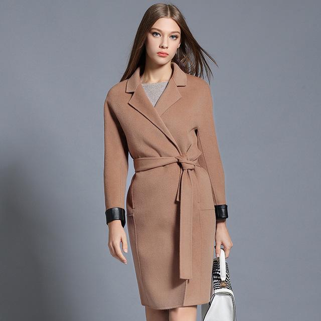 2016 Мода Зима Шерстяное Пальто Для Женщин Высокого Qulity Зимняя Куртка Женщин С Поясами Аксессуары Манто Femme Abrigos Mujer