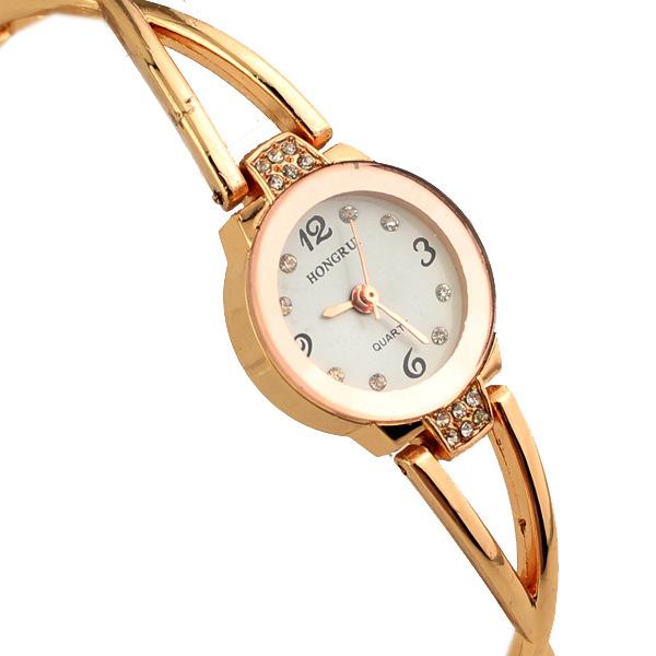 Luxury Full Gold Watches Women Graceful Rhinestone Bracelet Quartz Watch Women Slim Strap Jewelry Watches Relojes Mujer Clock<br><br>Aliexpress