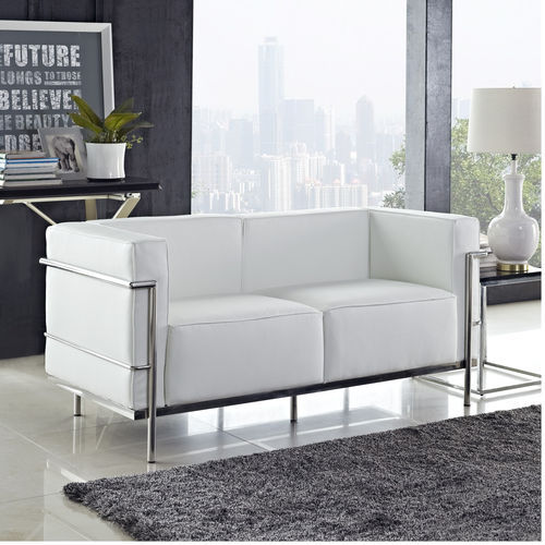 white Le Corbusier Soft LC3 loveseat,cleassic ,LC3 2-seater genuine leather sofa,LC3 living room sofa(China (Mainland))