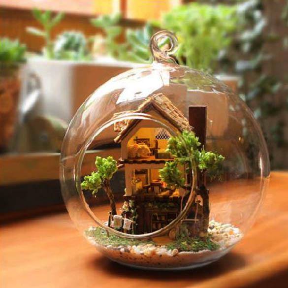 regalo de moda modo miniatura diy bosque casa de ensueo de vidrio botella z