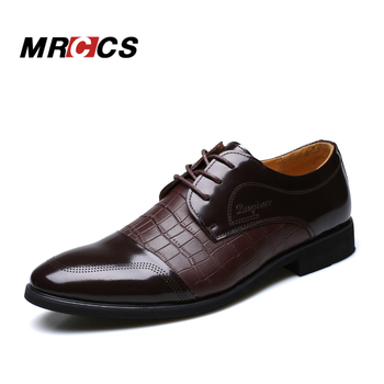 Crocodile Pattern Leather Men'Dress Shoes,For Business Wedding Formal Flats,Luxury Style Men Shoes Spring/Winter MRCCS Brand