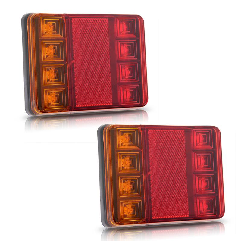 2PCS Waterproof 8 LED Taillights Red Yellow Rear Tail Light DC 12V for Trailer Truck Boat Car Styling Warning Light(China (Mainland))
