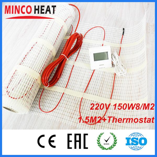 Twin Core Floor heating Mat 220V 150W/SQM 1.5SQM + Programmable Thermostat<br><br>Aliexpress