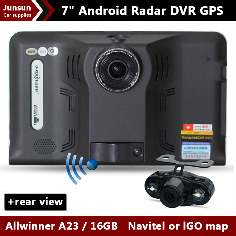 2014 New 7 inch Car GPS Navigation Android rear view Anti Radar Detector Car DVR 1080P Truck vehicle gps AV-IN Tablet PC 16GB