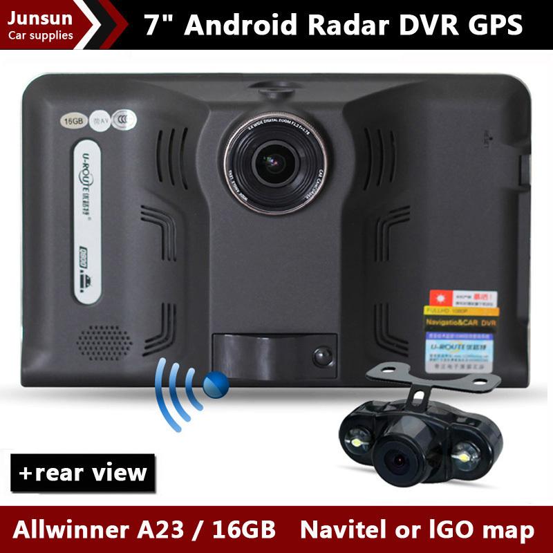 New 7 inch Car GPS Navigation Android rear view Anti Radar Detector Car DVR 1080P Truck vehicle gps AV-IN Tablet PC 16GB(China (Mainland))