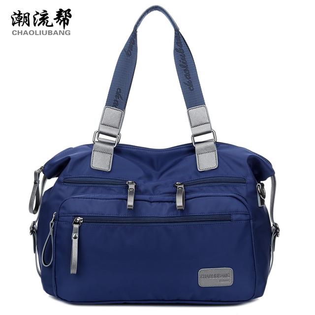 Ткань большой сплошной цвет нейлон водонепроницаемый сумки 2015 женщин краткое дорожная ...