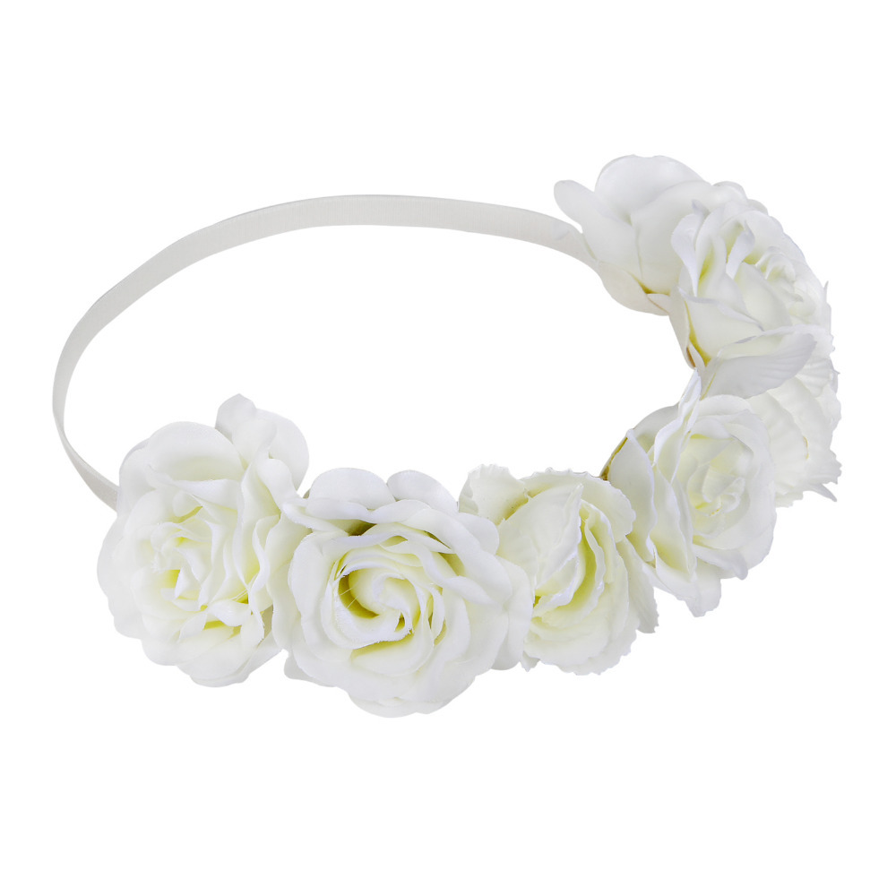 Hot new Miss Wonder floral garland women girl bride boho flower headband festival wed elegant rose flower headband white 2015(China (Mainland))