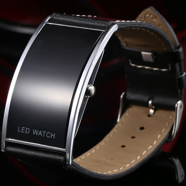 Cool Black Fashion LED Watch For Ladies Leather Bracelet Digital Wristwatches Women Boys Girls Unisex Luxury