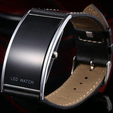 Cool Black Fashion LED Watch For Ladies Leather Bracelet Digital Wristwatches Women Boys Girls Unisex Luxury Brand Watch Men