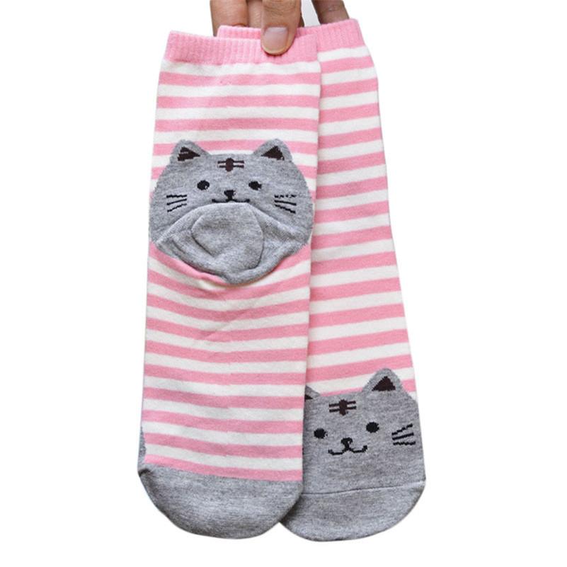 Stylish 3D Animals Striped Cartoon Socks Women Cat Footprints Cotton Socks Floor length sock for lady(China (Mainland))