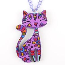 Acrylic Cat Flower Pattern Necklace