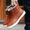 Fashion Brand Men Boots Genuine Leather Ankle Boots Plus Velvet Warm Winter Cotton Shoes Black Brown