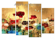 4 Piece Calligraphy Art Wall Flower Poster Canvas Painting Landscape Oil Prints Pictures Home Decor Quadros Decoracion Gift(China (Mainland))