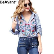 BeAvant Cool long sleeve blouse women tops Embroidery female blouse shirt Casual blue striped shirt 2016 autumn winter blusas