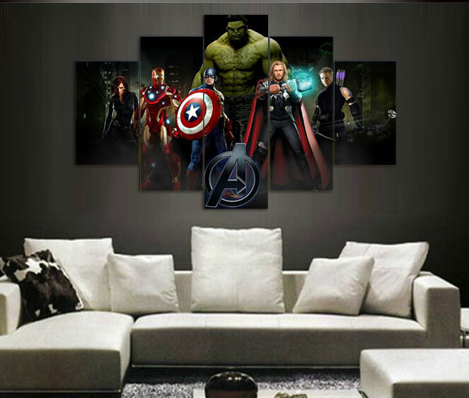 imprim le avengers film groupe peinture sur toile chambre d coration impression image affiche. Black Bedroom Furniture Sets. Home Design Ideas