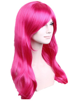 WigsLove  New Arrival Fashion Light Orange Long Wavy Cosplay Hair Wig Synthetic Heat Resstent Wigs ROSE RED