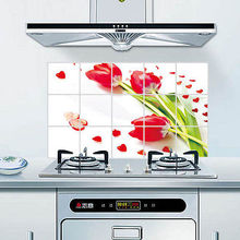 Rose Pattern Aluminum Foil Sticker Oil Proof Kitchen Wall Paper Decal 75*45cm(China (Mainland))