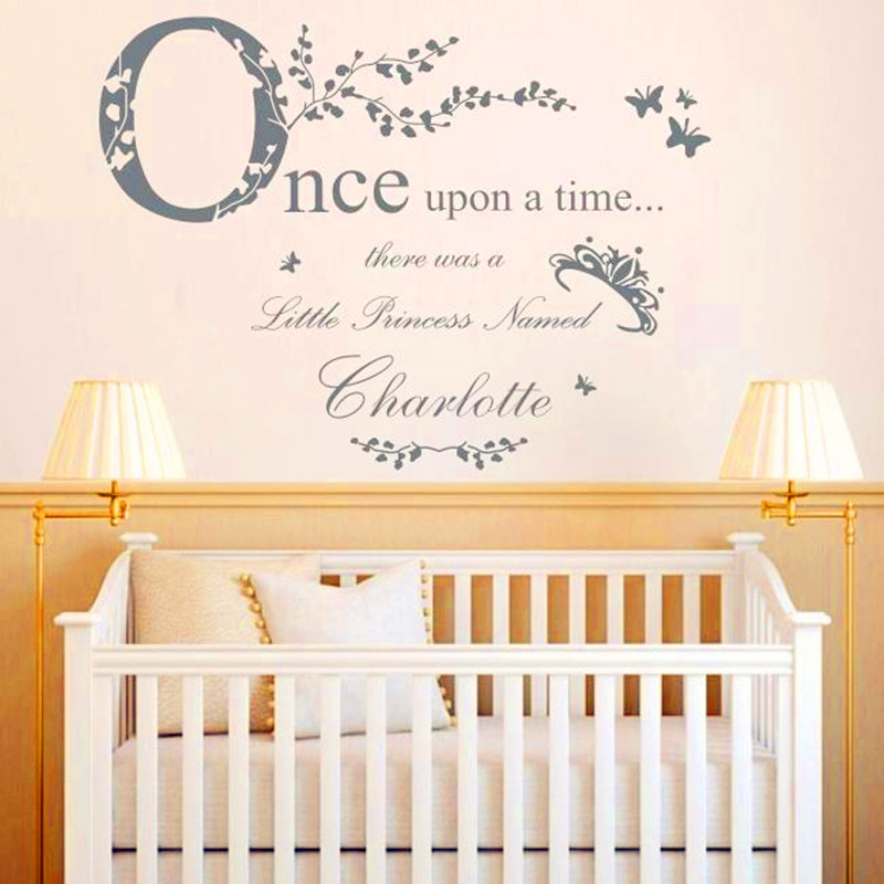 """""""Once Upon A Time Princess """" Vinyl Wall Stickers Home Decor Personalised Princess Name Decal Baby Bedroom Decoration Wall Art(China (Mainland))"""