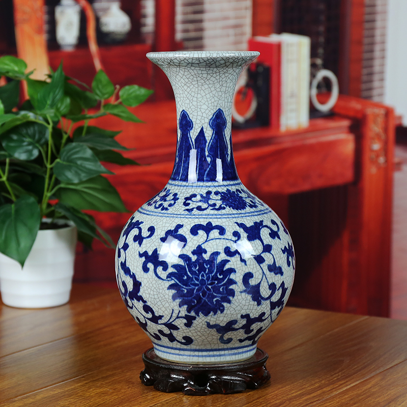 Ceramics vase blue and white antique vase brief decoration modern home decoration decoration antique porcelain vase(China (Mainland))