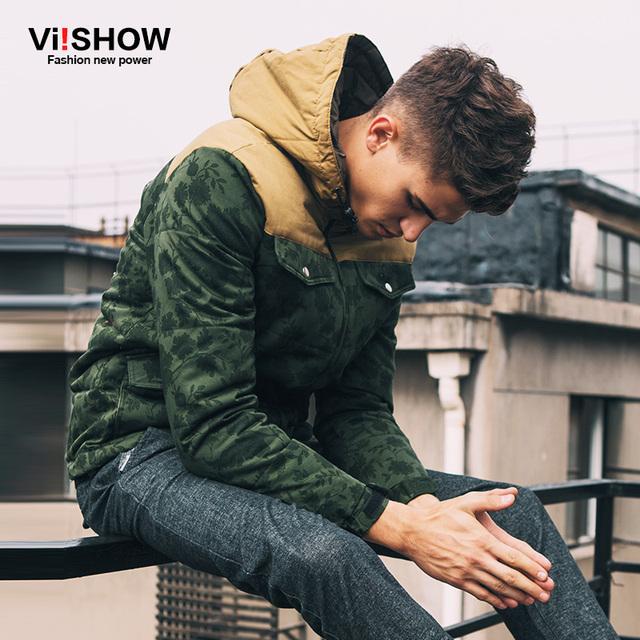 Viishow зимняя куртка мужчины 2016 известный бренд армия зеленый с капюшоном теплых ...