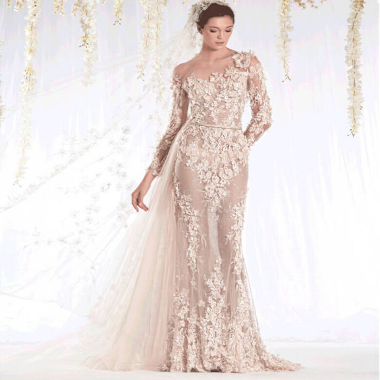 2015 sheer neckline lace applique champagne see through With long sleeve champagne wedding dress