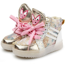 Fashion Toddler LED Light  Sneakers Shoes Velcro Kids Casual Shoes With Light  Baby Fashion Walker Shoes(China (Mainland))