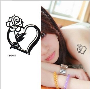 Tattoo finds tattoo stickers waterproof male female flower heart disposable(China (Mainland))