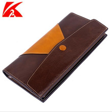Hot Sales Oil wax head layer leather women wallets Women's Long Casual Clutch Envelope bag Carteira Soft Cover Patchwork Purses(China (Mainland))