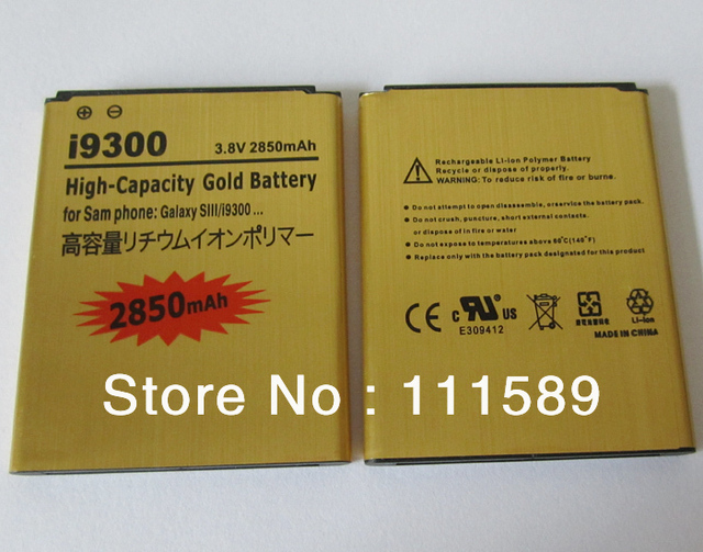 Wholesale 2850mAh rechargeable Gold Battery For Samsung Galaxy S3 S 3 III i9300 I747 T999 L710 I535 I530 50pcs/lot fast Shipping