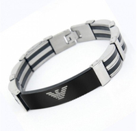 fashion stainless steel and silicone bracelets & bangels with logo good quality men jewelry