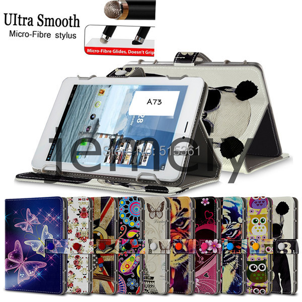 In Stock Luxury Printed Wallet Leather Bag Case 7inch Universal Tablet Case for AMPE A73 with Stylus Pen(China (Mainland))