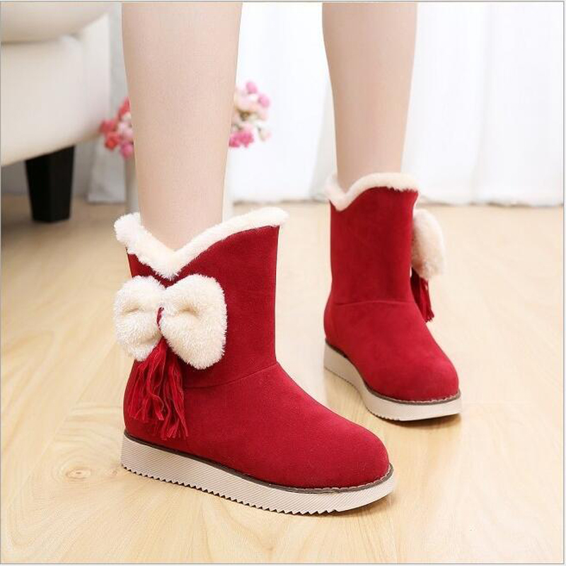 2015 New Arrival Hot Sale Women Boots Solid Bowtie Slip-On Soft Cute Women Snow Boots Round Toe Flat with Winter Shoes WA-156<br><br>Aliexpress
