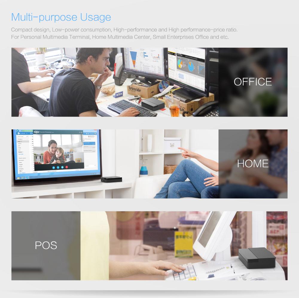 Fanless Intel Mini PC MeLE PCG09 Windows 10 Quad Core Bay Trail Z3735F 2GB / 32GB 2.5 HDD M.2 SSD Support HDMI VGA LAN WiFi BT