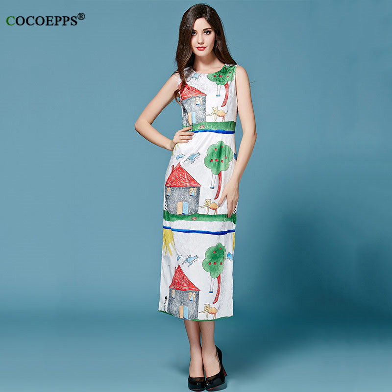 COCOEPPS Women Summer Casual Clothing O-neck Floral Maxi Dress Brand Sleeveless Dress Patterns Green Printed Dresses Straight