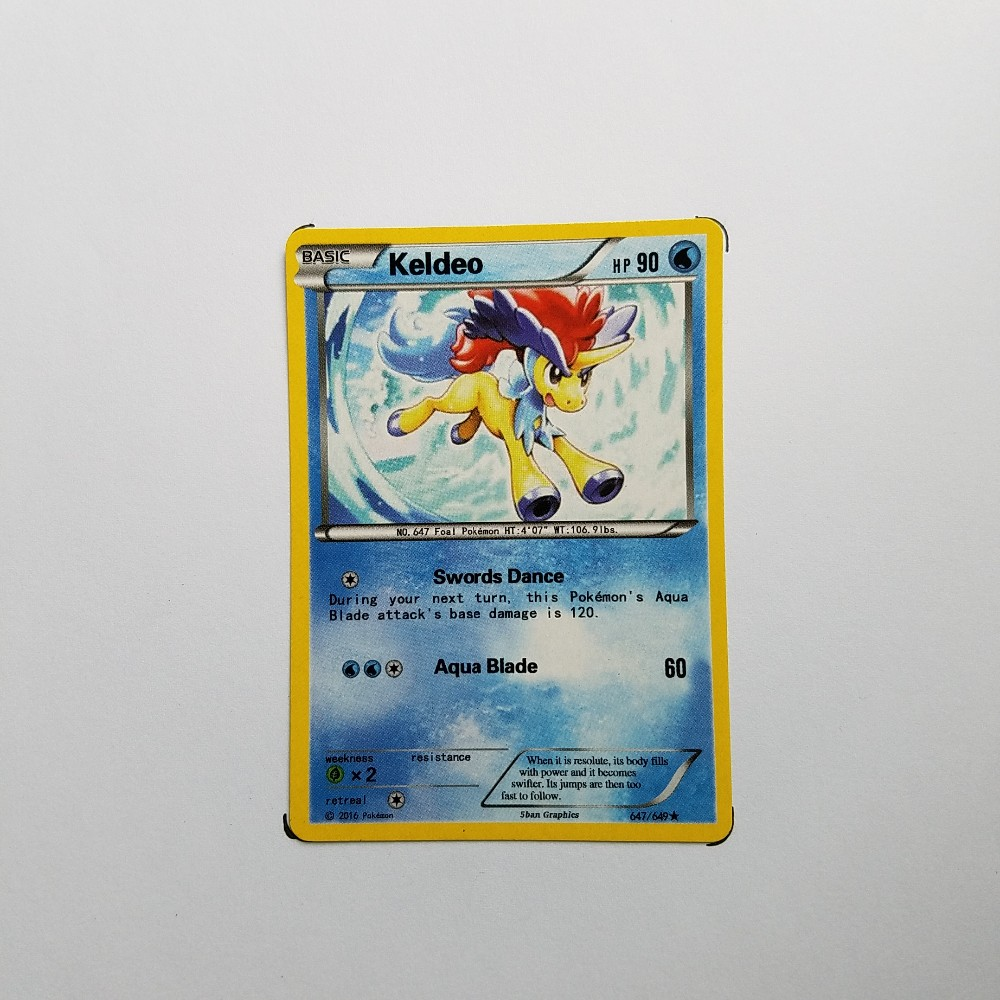 Pokemon Card Single Sale A40012 Keldeo Water Type Basic Ordinary Card Play Anime Toys Cards Game Trading Collection