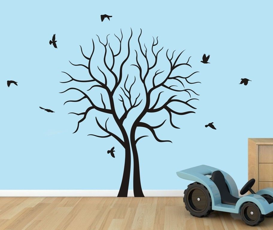 Free shipping home decor large tree branch forest birds for Big tree with bird wall decal deco art sticker mural