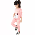 2016 Baby Kids Bear Patchwork Sport Clothes Sets Autumn Winter School Uniform For Girls Pink Long