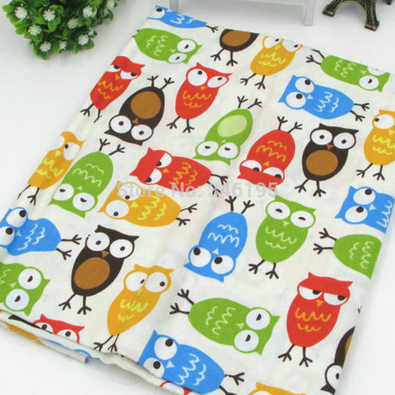50cm*160cm/piece Cute Colorful Owl Printed 100% Cotton Fabric for Baby Patchwork Quilt Upholstery Fabric Sewing Material(China (Mainland))