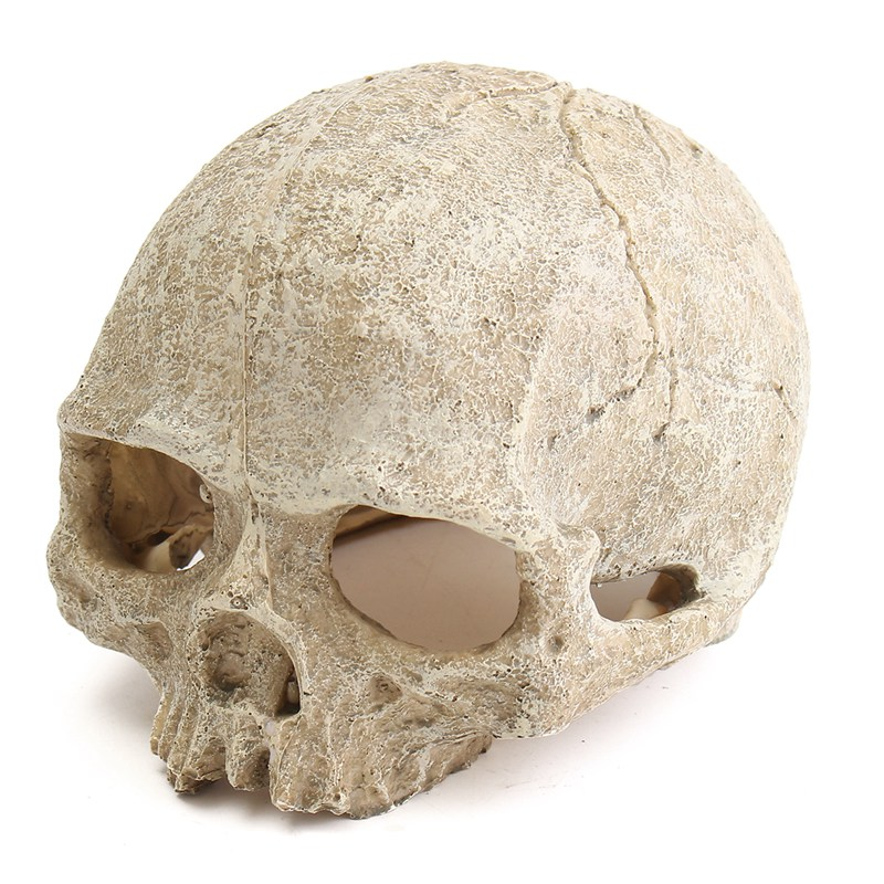 Retro Aquarium Resin Spooky Hollow Skull Head Cave Ornament Resin Crafts for Aquarium Fish Tank Landscape Decoration Cool Decor(China (Mainland))
