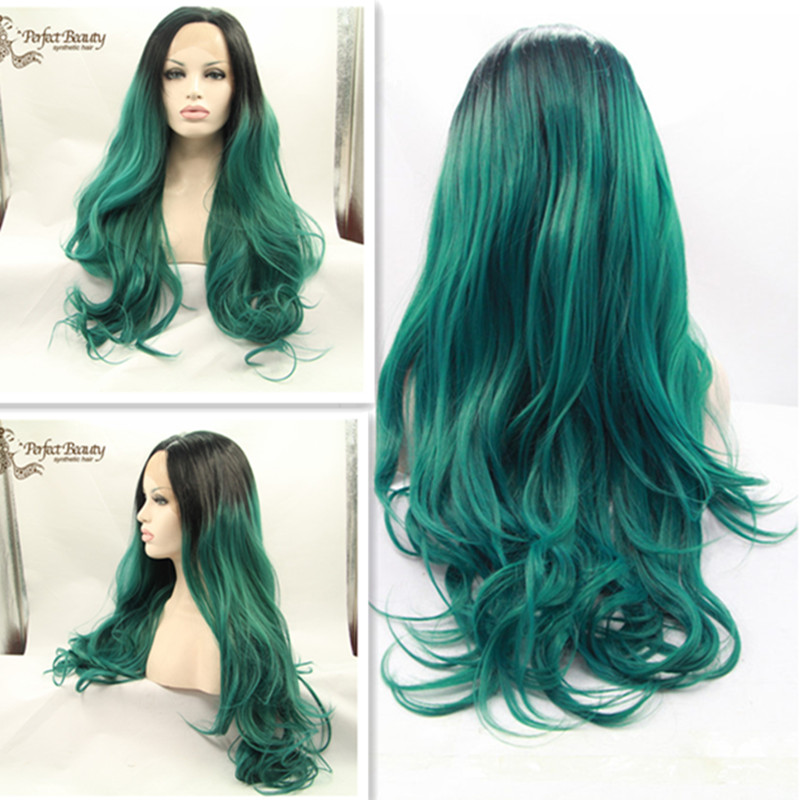 Colorfull longest big wave Wigs Ombre Green Synthetic Lace Front Wig Heat Resistant Glueless Lace Wigs(China (Mainland))
