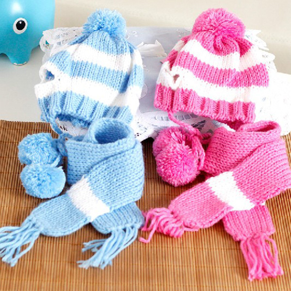 Pet Dog Apparel Cap Collar Clothes Winter Costume Warm Scarf Pom-pom Knitted Hat(China (Mainland))